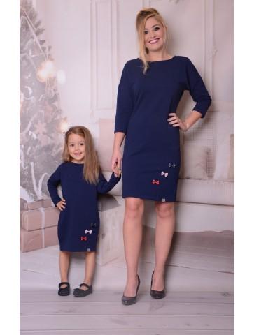 Świąteczne granatowe sukienki z kokardkami dla mamy i córki