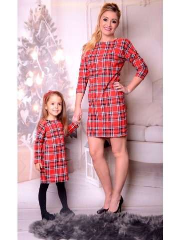 Weihnachtskleider kariert Mutter und Tochter