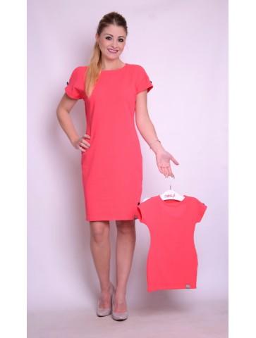 Koralowe bawełniane sukienki dla mamy i córki