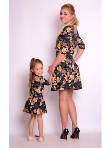 Eleganckie sukienki złote liście mama i córka