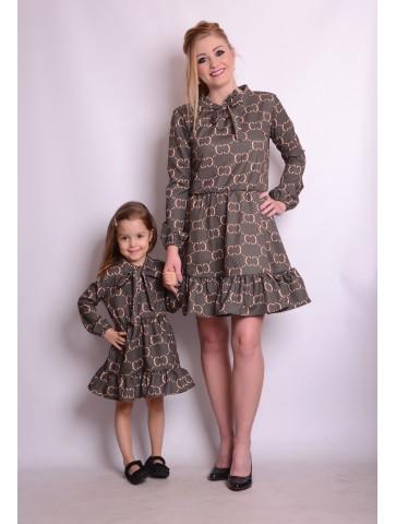 Eleganckie oliwkowe sukienki dla mamy i córki
