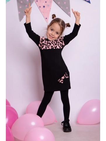 Czarna panterka sukienka dla dziewczynki