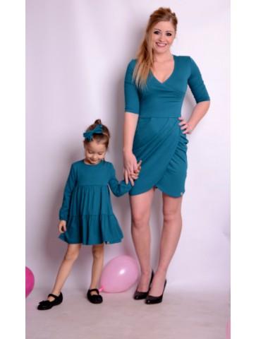 Sukienka kopertowa szmaragdowa dla mamy i córki
