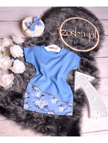 Sukienka bawełniana niebieska w róże dla dziewczynki