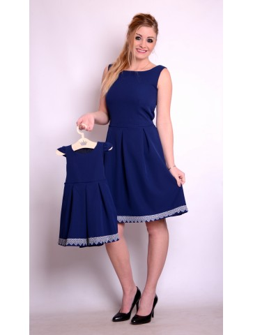 Eleganckie Kloszowane Granatowe Sukienki Mama i Córka
