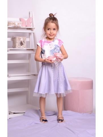 Sukienka kloszowana z tiulem dla dziewczynki