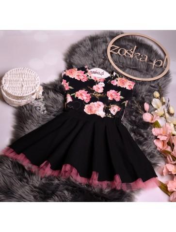 Kloszowana sukienka pin-up róże dla dziewczynki