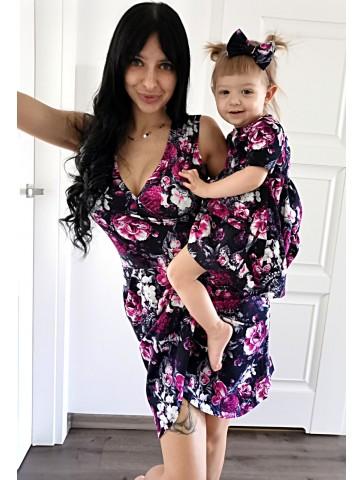 Letnie sukienki kopertowe mama i córka fuksjowe kwiaty