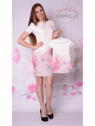 Piękne ecru ołówkowe sukienki w kwiaty dla mamy i córki na komunie i wesela.
