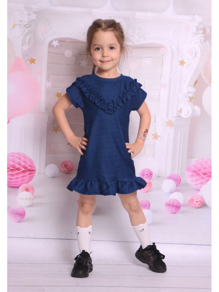 Jeansowe sukienki z falbankami dla dziewczynek