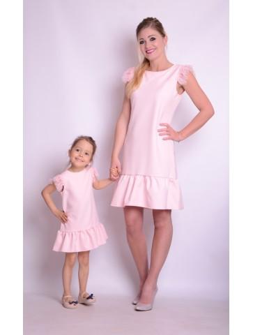 Różowe Sukienki z tiulem i perełkami dla mamy i córki.