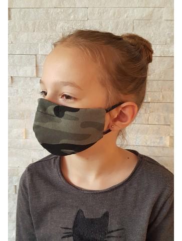 Maseczka bawełniana dla dziecka khaki moro