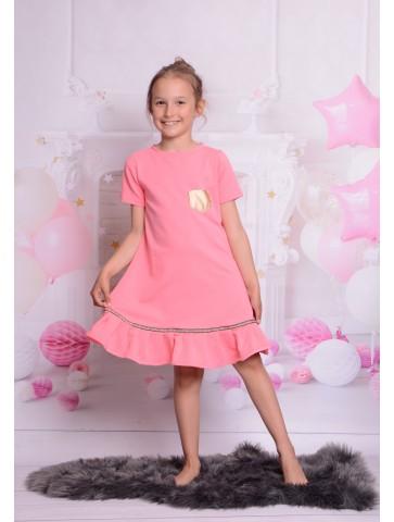 Neonowo różowa sukienka wiosenna dla dziewczynki