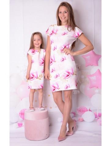 Eleganckie wiosenne sukienki w magnolie mama i córka