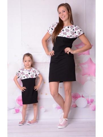 Sportowe, czarne sukienki z panterką dla mamy i córki