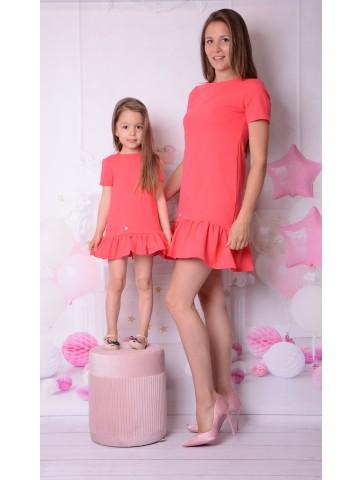 Koralowe sukienki z sercem dla mamy i córki