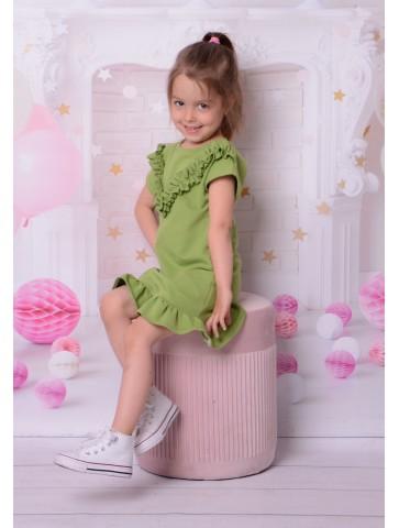 Zielona bawełniana sukienka dla dziewczynki