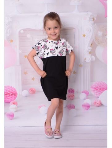 Dresowa sukienka z panterkami dla dziewczynki