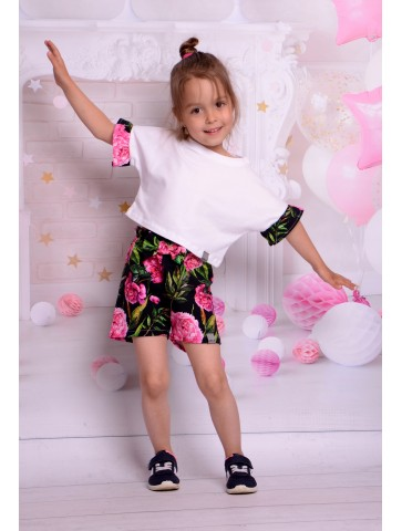 Bluse + Shorts Pfingstrosen