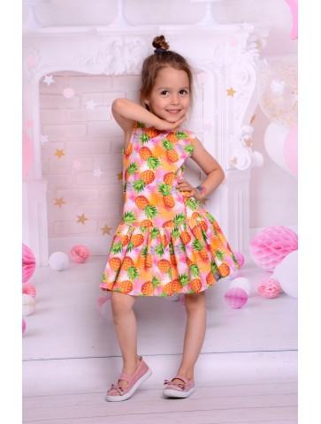 Letnia sukienka w ananasy dla dziewczynki
