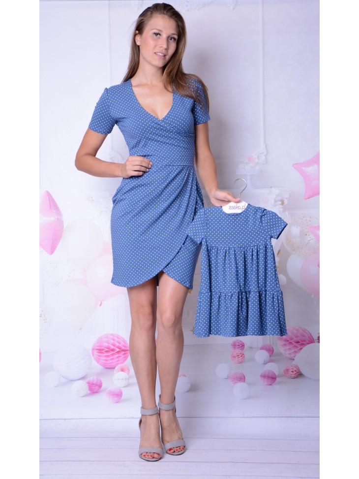 Sukienki kopertowe dla mamy i córki na lato, niebieskie groszki.