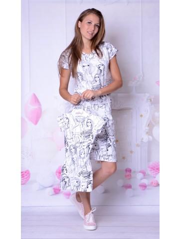 Biało-czarne drukowane w grafiki sukienki dla mamy i córki