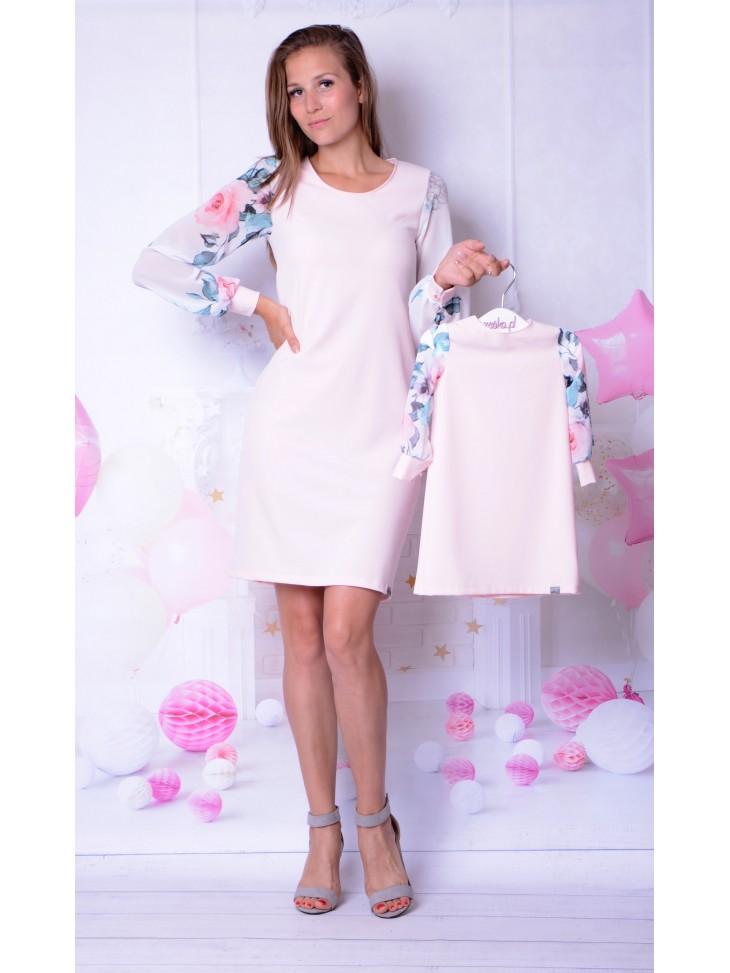 Eleganckie sukienki z szyfonowymi rękawami dla mamy i córki