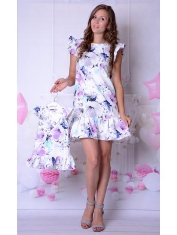 Fioletowe Kwiaty Eleganckie Sukienki mama + córka