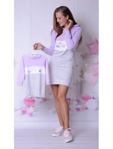 Dresowe sukienki fiolet dla mamy i córki