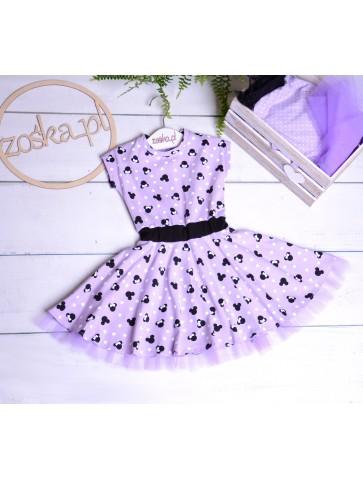 Fioletowa sukienka dla dziewczynki w myszki i groszki