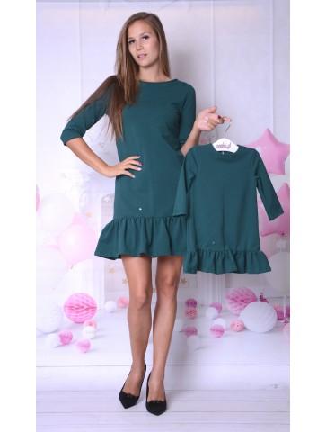 Eleganckie sukienki butelkowa zieleń dla mamy i córki