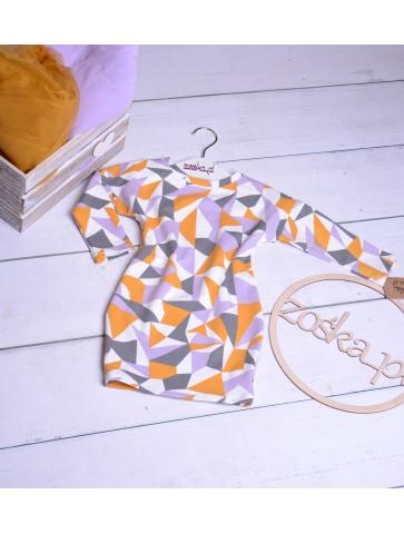 Sukienka trójkąty fiolet musztarda dla mamy i córki