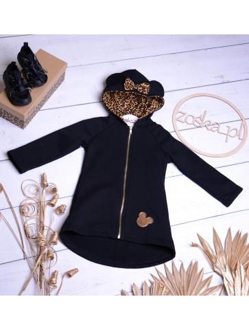 Płaszczyk czarny z panterką