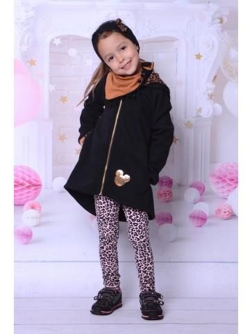 Jesienny płaszczyk Myszka Minnie z panterką dla dziewczynki