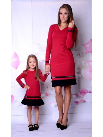 Bordowe sukienki świąteczne z cyrkoniami dla mamy i córki