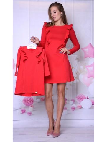 Czerwone trapezowe sukienki dla mamy i córki