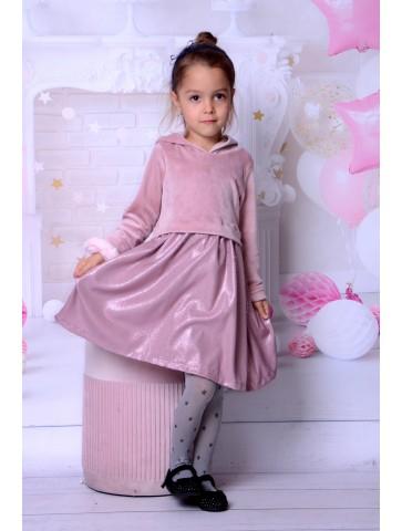 Welurowa świąteczna sukienka dla dziewczynki