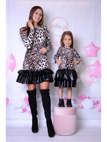 Welurowe ciepłe sukienki cętki dla mamy i córki