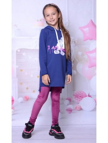 Welurowe purpurowe legginsy dla dziewczynki