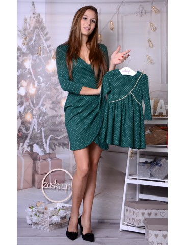 Kopertowe świąteczne zielono złote sukienki dla mamy i córki