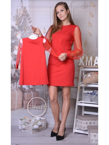 Czerwone sukienki z tiulem dla mamy i córki