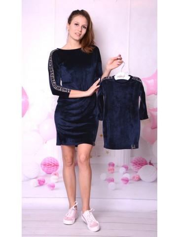 Granatowe welurowe sukienki dla mamy i córki