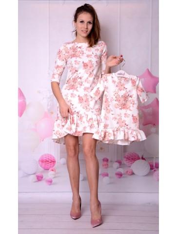 Elegancka sukienka w kwiaty dla mamy i córki na wesele
