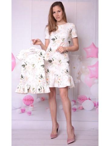 Jasne eleganckie sukienki w kwiaty dla mamy i córki