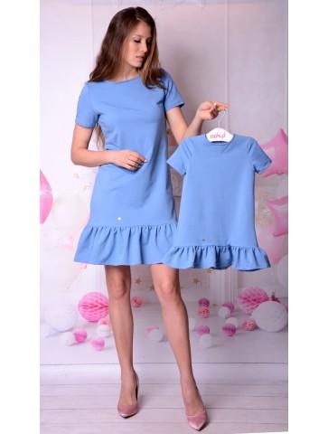 Niebieskie bawełniane sukienki dla mamy i córki.