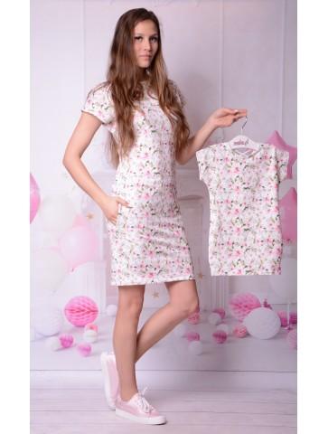 Dresowe sukienka w jasne kwiaty dla mamy i córki