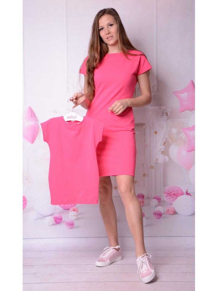 Fuksjowe dresowe sukienki dla mamy i córki