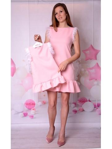 Rosa Kleid Tüll Perlen Mutter und...